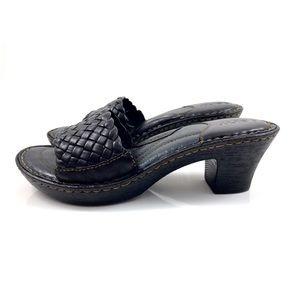 BORN black leather braided sandals